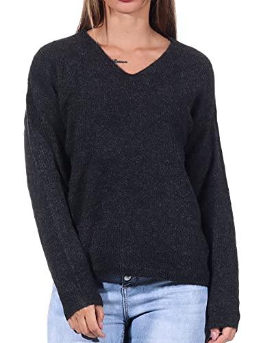 ONLY Female Strickpullover V-Ausschnitt MDark Grey Melange
