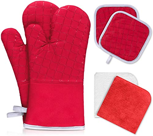 IXO 6Pcs Oven Mitts and Pot Holders, 500℉ Heat Resistant Oven Mitts with Kitchen Towels Soft Cotton Lining and Non-Slip Surface Safe for Baking, Cooking, BBQ(Red)