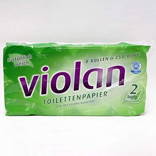 Fripa Toilettenpapier 2-lagig, WC Papier Violan: 8 x 250 Blatt, Recycling, 8 Stück