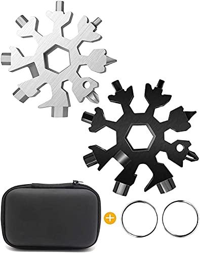 Multiherramienta para copos de nieve 18 en 1, tarjeta de herramientas para copos de nieve de acero inoxidable Tarjeta multiherramienta 18 en 1 Herramienta para copos de nieve compacta Herramienta para