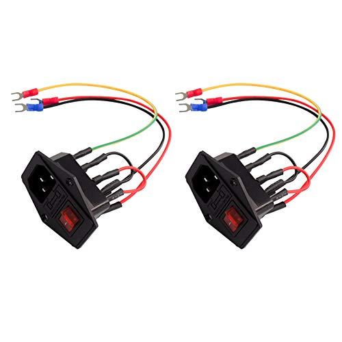 Aibecy Accesorios de impresora 3D Interruptor de fuente de alimentación Enchufe 10A 250V Interruptor basculante con cable fusible Enchufe tipo U para impresora 3D,2pcs