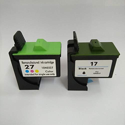 LIUYB Cartucho de Tinta Apta for Lexmark 17 27 Apto for Lexmark X1270 i3 Impresora X1100 X1150 X2250 X75 Z13 Z23 Z34 Z515 Z517