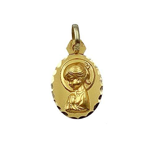 Medalla Religiosa - Medalla Virgen Niña con Coleta 12x15 mm. Oro de 18 K (750 milésimas).
