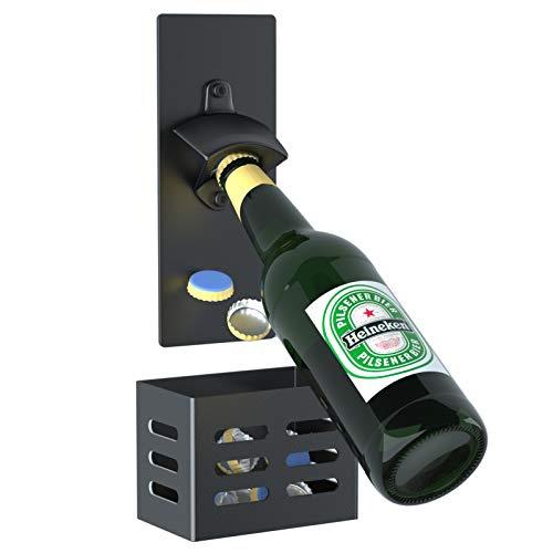 Abrebotellas de Pared con Magnetico,Abridor Cerveza de tapas de botella,Regalos para padres,amantes,hijos,amigos (Negro)