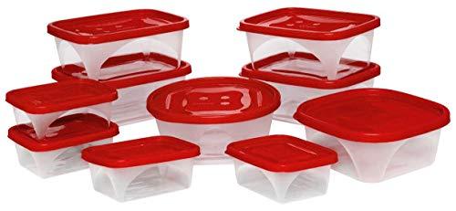 Juego de 10 contenedores de alimentos , recipientes para almacenamiento de comida con tapas hermeticas, diferentes formas, tamaños y medidas. Elaborados en Polipropileno de alta...