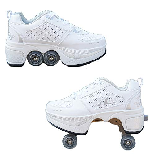HealHeatersR Deformation schoenen Quad Skate rolschaatsen outdoor sportschoenen voor volwassenen trainer gymnastiek sneakers voor jongens meisjes wit