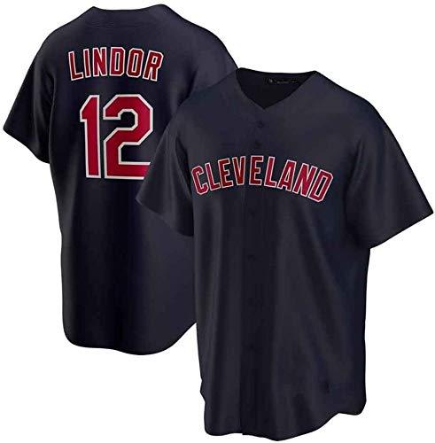 MLB T-Shirt Baseball Trikot mit Cleveland Indianer #12 LINDOR LOGO Design Major League Baseball Team Sportswear Fans Trikot Bestickt Shirt Kurzarm Unisex (L)
