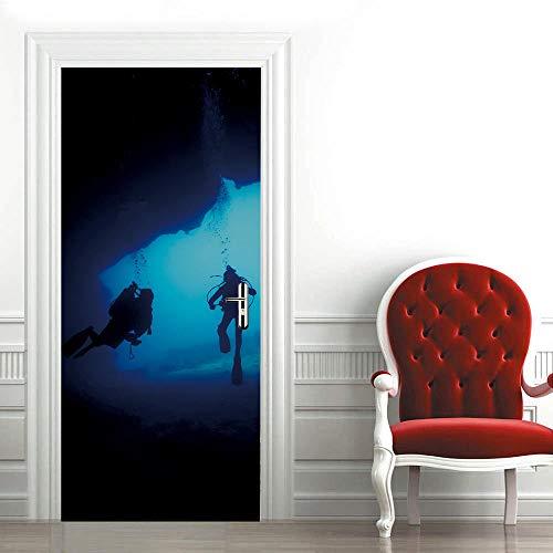 XCQHZYQ DIY 3D Türaufkleber 77X200cm Tür Wandbild wasserdicht Taucher Selbstklebend Tapete Wasserdichtes Abnehmbare Wohnzimmer Wandtattoos Vinyl Wandbild Wohnkultur
