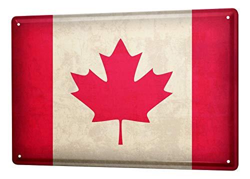 LEotiE SINCE 2004 Blechschild Dekoschild Küche Garage Welt Reise Kanada Flagge Wand Deko Schild 20X30 cm
