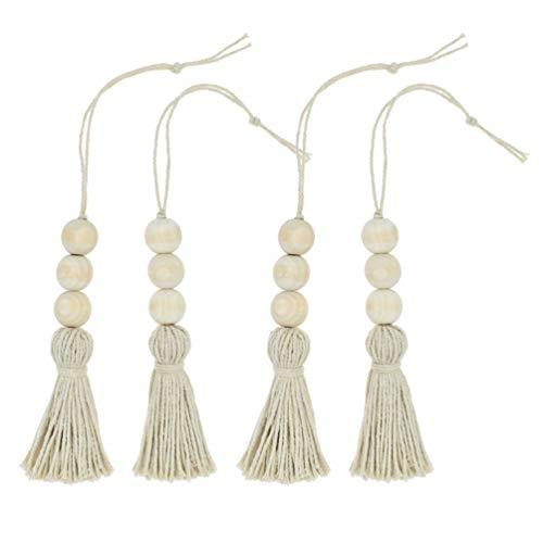 Vosarea Borlas de cuentas de guirnalda de cuentas de madera 4pcs natural cuerda colgando la decoración de la perilla de la puerta del hogar