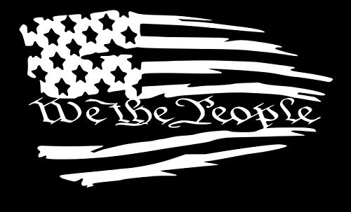 UR Impressions Tattered American Flag - We The People Decal Vinyl Sticker Graphics for Car Truck SUV Van Wall Window Laptop|White|7.5 X 4.2 inch|URI608
