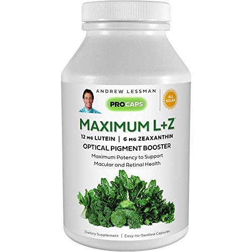 Andrew Lessman Maximum L+Z 240 Softgels - 12mg Lutein, 6mg Zeaxanthin, Key Nutrients to Support Eye and Brain Health, and Promote Healthy Vision. No Additives. Easy to Swallow Softgels