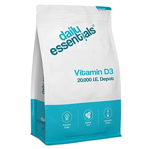 Vitamin D3 20.000 IE Depot - 250 Tabletten - Alle 20 Tage eine Tablette - Hohe Bioverfügbarkeit - Laborgeprüft, ohne Magnesiumstearat, hochdosiert, vegetarisch und hergestellt in Deutschland