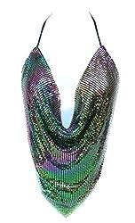 Multi Colors Sequin Metal Mesh V Shape Cut Top