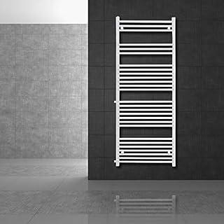 ECD Germany Radiador de baño Sahara - 600 x 1600 mm - Blanco - recto con conexión lateral 650 mm - Radiador toallero agua calefaccion - Calentador de baño - Calefaccion de pared - No eléctrico -