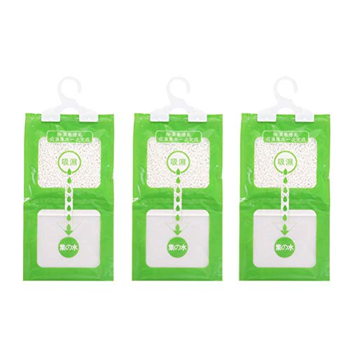 SUPVOX 3pcs Hanging Closet Dehumidifier Bags Moisture Absorber Packets for Clothes Cabinet Wardrobe (Green)
