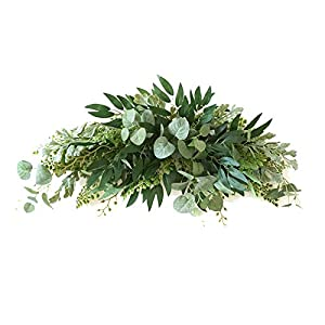 Silk Flower Arrangements Aojie Artificial Leaf Swag,Decorative Swag with Eucalyptus Leaves Wedding Arch Flowers,Front Door Wreaths,Farmhouse Floral Garland for Table Centerpieces Home Decoration