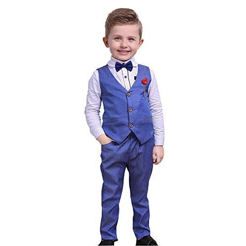 Nwada Anzüge für Jungen Bekleidungssets Kinder Junge Smokings Hosen Shirt Weste Sets Blau 5-6 Jahre