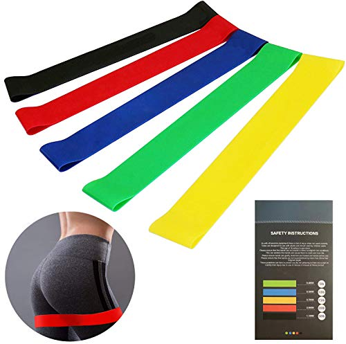 Resistance ring exercise bands silicone resistance exercise bands for Pilates yoga home or gym exercise a box of 5 colors with packaging instructions