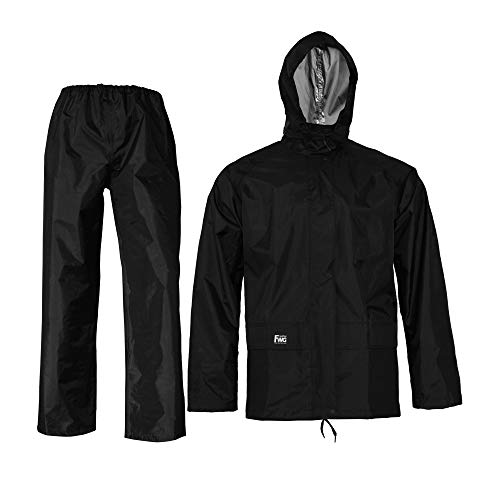 Rain Suits for men women Waterproof Jacket with Pants 3-Pieces Raincoat Hooded(X-Large, Black)