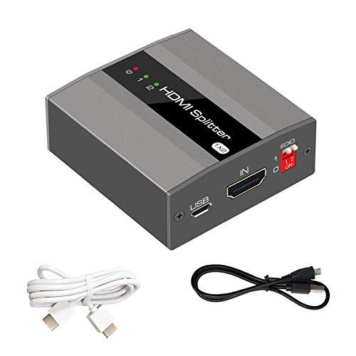 KUYiA - 1 x commutatore HDMI, 1 ingresso e 2 uscite, con supporto EDID, 4K@30Hz, 3D, 1080P, HDCP1.4, splitter sdoppiatore HDMI 1 a 2 con cavo micro USB incluso