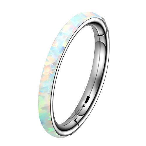 OUFER Helix Piercing Nose Ring 16G G23 Solid Titanium Septum Ring Opal Hinged Segment Hoop Daith Conch Tragus Earring White 10