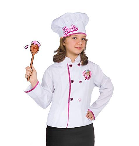 Ciao-Barbie Chef (chaqueta y sombrero) Disfraz para niña, talla única 5-9 años, blanco, 11667
