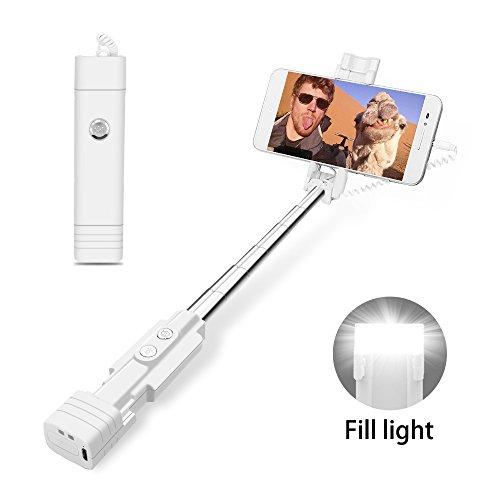 atongm Bastone Selfie Mini Selfie Stick per Telefono Cellulare Luce di riempimento a LED, Selfie Stick Estensibile per Cellulare (iOS, Android) Bianco