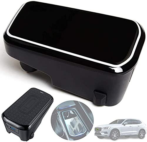Cargador de Coche Inalámbrico para Volvo XC90 XC60 S90 V90 2020-2018 Panel de Accesorios de Consola Central, Cojín de Carga Rápido del Cargador del Teléfono de 10W Qi con 2 Puertos USB QC 3.0 de 18W