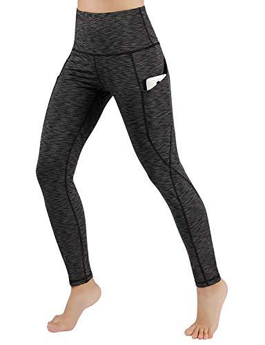 ODODOS Women's High Waisted Yoga Leggings with Pocket, Workout Sports Running Athletic Leggings with Pocket, Full-Length, SpaceDyeCharcoal,X-Large