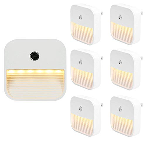 WYDM Luz Nocturna LED Enchufable Mini Luz De Escalera Brillo De 4 Niveles Ajustable Interruptor Automático del Sensor De Brillo Escaleras del Dormitorio del Pasillo Luz Cálida(6 Piezas)