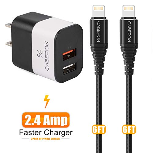 iPhone Charger with Wall Plug,CABEPOW 2Pack 6ft Lightning Cable and 12W Dual Port USB Wall Charger, 2.4A Portable Power Adapter Plug and 6 Foot iPhone Charging Cable for iPhone XS/XR/X/8/7/6S/6/Plus