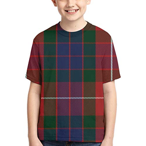 YudoHong Camisetas para niños Fraser Red Tartan Active Athletic Performance T-Shirt