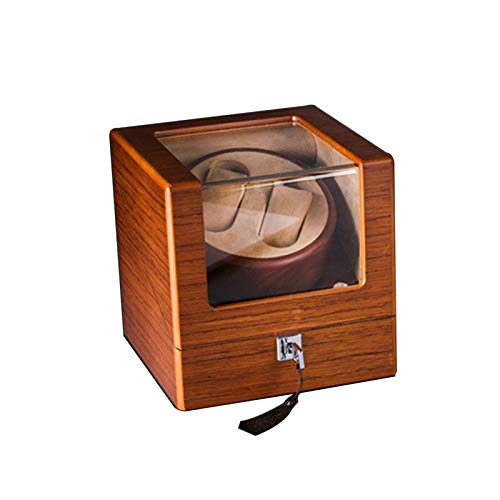 Cajón de almacenamiento para relojes y joyas, caja doble para relojes, 4 modos de rotación, motor supersilencioso, caja de almacenamiento de lujo marrón brillante