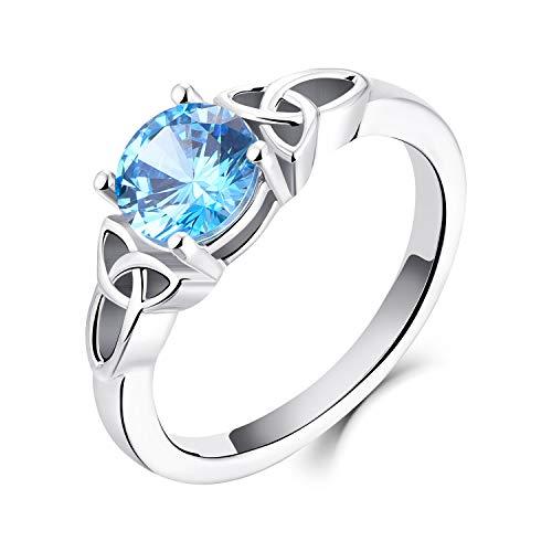 YL Anillo Celta Plata de Ley 925 6.5MM Anillo de bodas de compromiso de solitario de Circonita azul claro para mujeres de la novia(10)