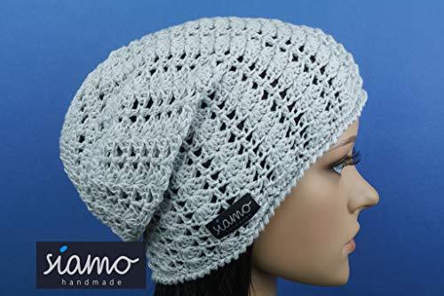 Sommer-Beanie SAVONA hellgrau Baumwolle Sommer-Mütze von siamo-handmade