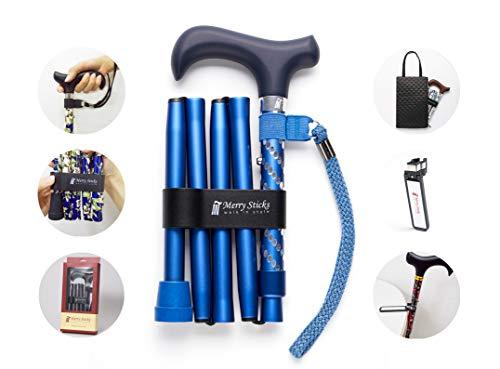 Merry Sticks, bastón Plegable Ajustable de diseño, Azul Marino Brillante, Incluye una práctica Bolsa para su bastón y un Soporte para Bastones Reflectante Inteligente