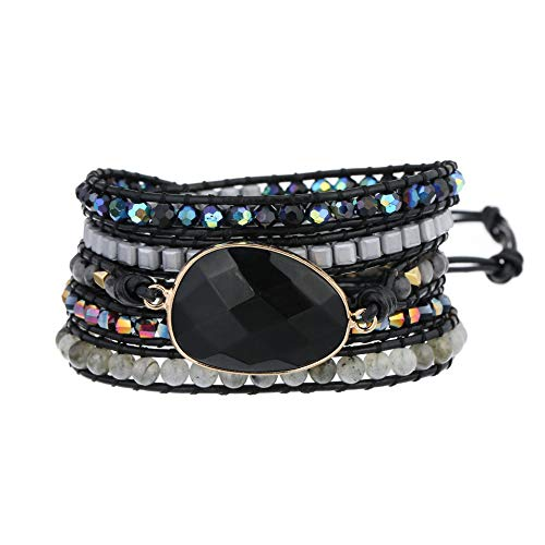 Plumiss Bohemia 5 Wraps Onyx Beaded Multilayer Handmade Bracelet Crystal Jewellery For Womens And Girls