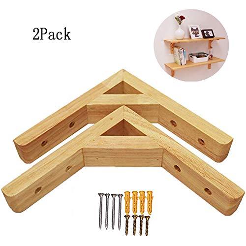 2 stuks massief houten plankhouders, multifunctionele driehoekige plankhouder, doe-het-zelf wandplank, drijvende planken, steunframe met schroeven