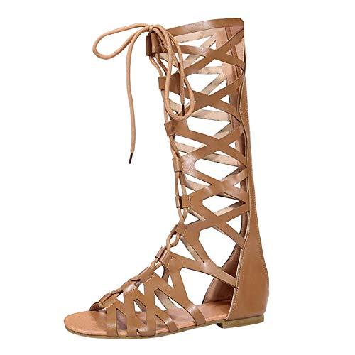uirend Zapatos Mujer Sandalias - Mujeres Gladiador Sandalias Romano Rodilla Alto Cremallera Cordones Peep Toe Plano Strappy Botas Casual Playa Verano