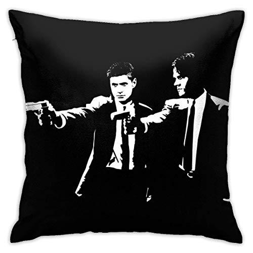 N \ A Pulp Fiction Supernatural Sam and Dean Winchester Funda de almohada, impresión de doble cara, funda de almohada con cremallera oculta, hermoso patrón impreso de 45,7 cm