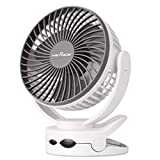 KEYNICE Clip Fan with Night Light, USB Desk Fan with Rechargeable Battery, 4 Speeds Battery Operated Fan, Outdoor Camping Hanging Fan, Hurricane Emergency, Personal Cooling Fans for office Home White