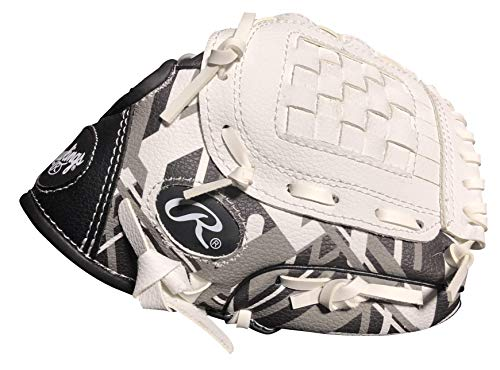 Rawlings Remix Series Youth Tball/Baseball Glove, Right Hand Throw, Black/White/Gray, 9 Inch (Ages 3-5) (AMAREM91-6/0)