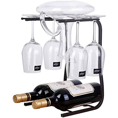 Wine racks Estante para Secado de Copas de Vino Y Soporte para Botellas, Proceso de Hierro de Exhibición de Mesa Independiente Amantes del Vino E Invitados Fiestas O Banquetes para Decoración