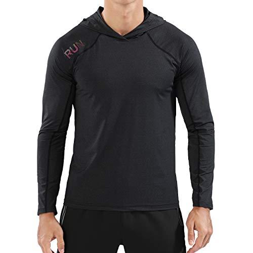 Rdruko Men's Active Gym Muscle Bodybuilding Long Sleeve Hoodies Workout Running Hooded Sweatshirts(Black, US L)