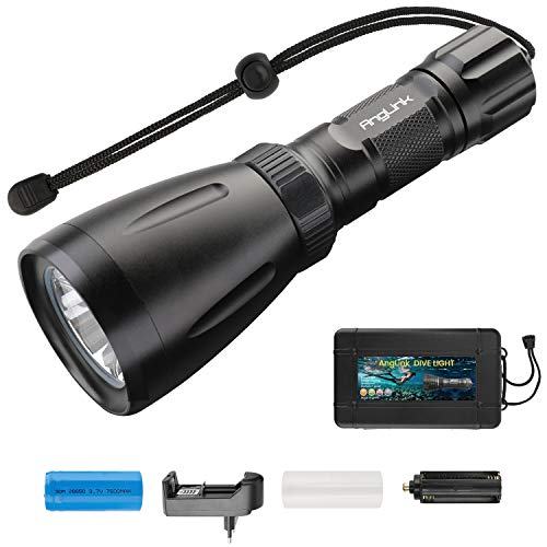 AngLink Linterna de Buceo, 2000 Lumens CREE XHP-50 LED Antorcha de Buceo, 2 Modos Linterna de Buceo Recargable, 350 Metros Buceo Linterna con 2 x 26650 Batería y Cargador