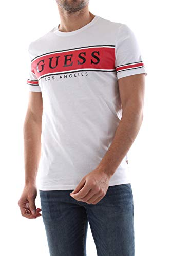 Guess CN SS Banner Tee T-Shirts & Poloshirts Hommes Weiss/Rot - S - T-Shirts