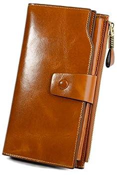 YALUXE Women s Wax Genuine Leather RFID Blocking Large Capacity Luxury Clutch Wallet Card Holder Organizer Ladies Purse Wallets for women brown