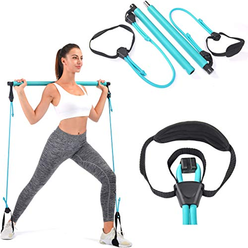 Pilates Bar, Wastou Portable Pilates Bar Kit with Adjustable Resistance Band for Different Height, Home Gym Exercise Stick Yoga Bar with Foot Loop for Hipsline, Stretching, Muscle Toning (Turquoise)