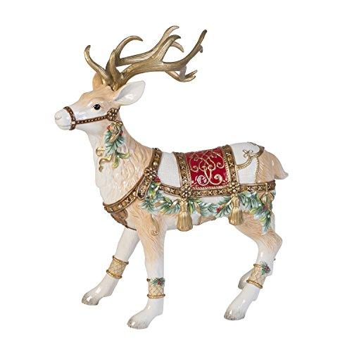 Fitz and Floyd 49-521 Yuletide Holiday Ceramic Reindeer Figurine